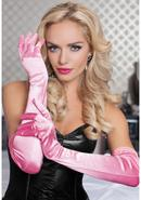 Satin Opera Length Gloves-lt. Pink O/s