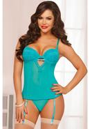 Teal Appeal Bustier And Thong-teal-s