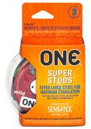 One Super Studs Lubricated Latex Condoms 3-pack