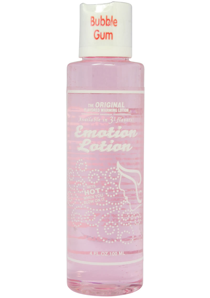 Emotion Lotion Flavored Water Based Warming Lotion Bubble Gum 4 Ounce