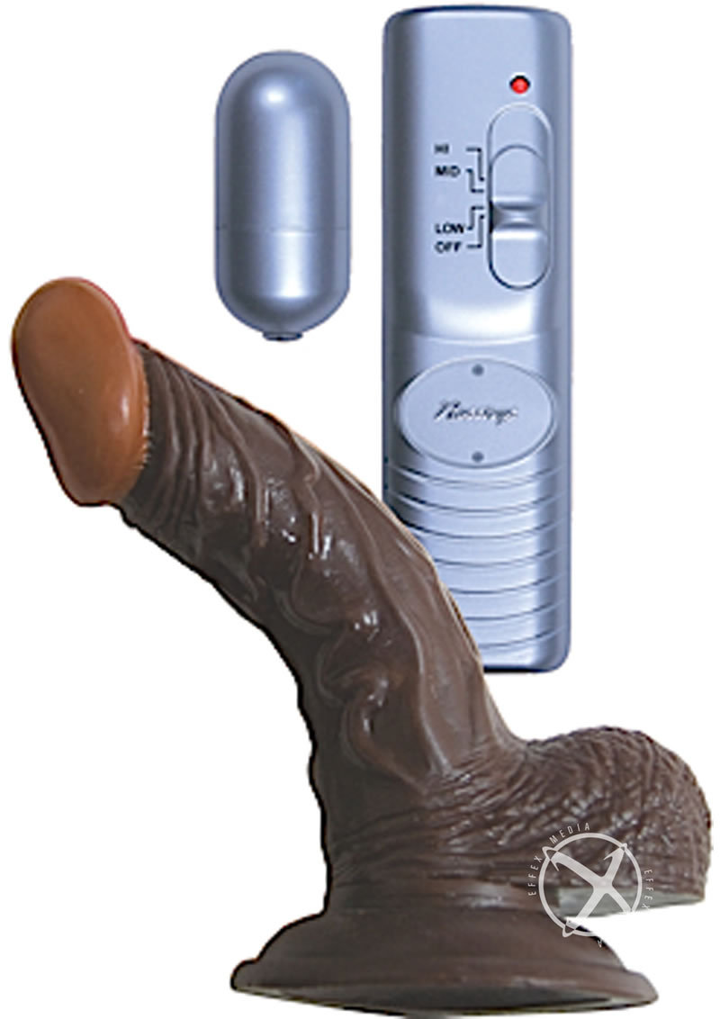 Real Skin All American Afro American Whoppers Vibrating Dildo With Balls 5in - Chocolate