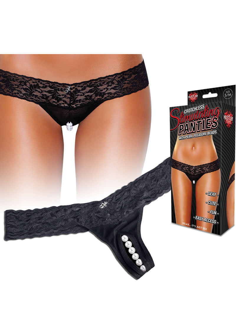 Hustler Toys Crotchless Stimulating Panties Thong With Pearl Pleasure Beads Black Small/medium