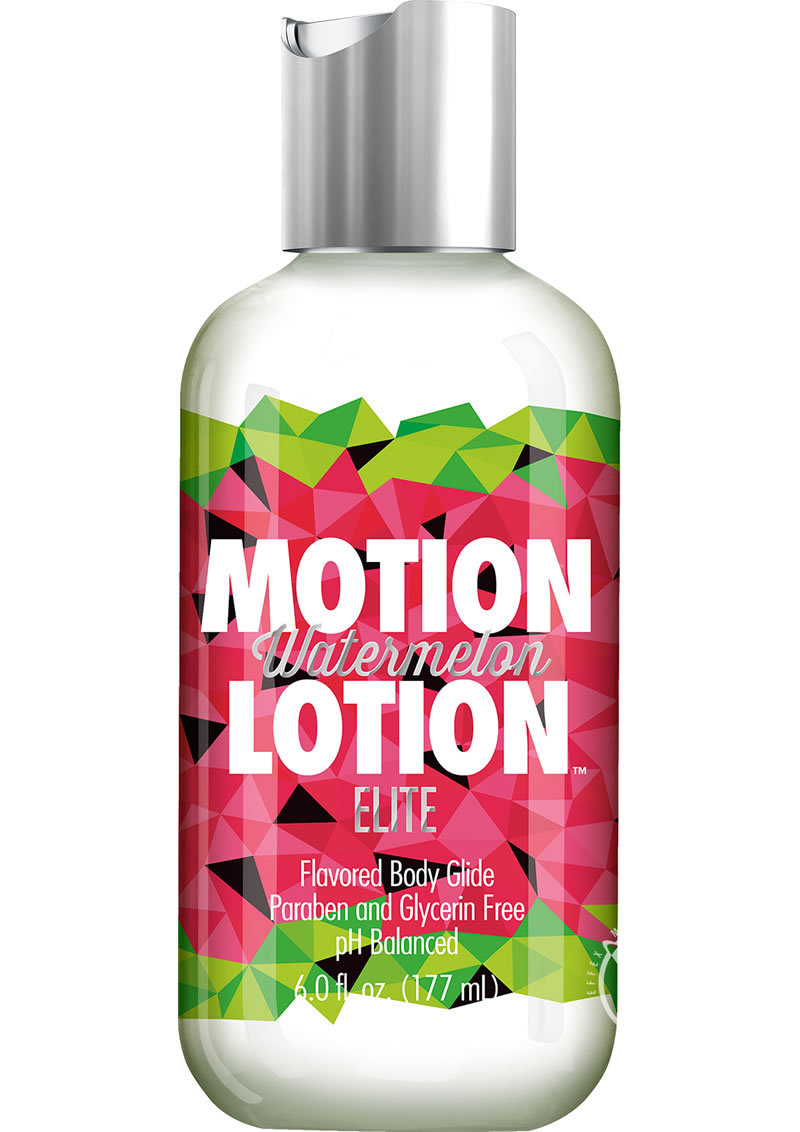 Motion Lotion Elite Waterbased Flavored Body Glide Watermelon 6 Ounce Bottle