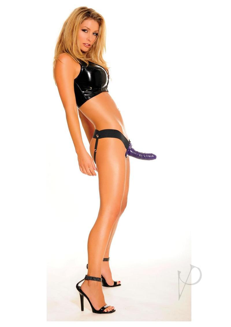 Fetish Fantasy Series For Him Or Her Hollow Strap-on Dildo And Adjustable Harness 6in - Purple