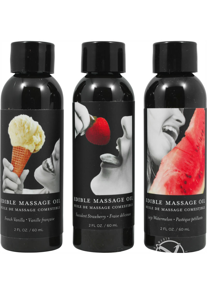 Hemp Seed Natural Body Care Edible Massage Oil Gift Set 3 Each 2 Ounce Bottles