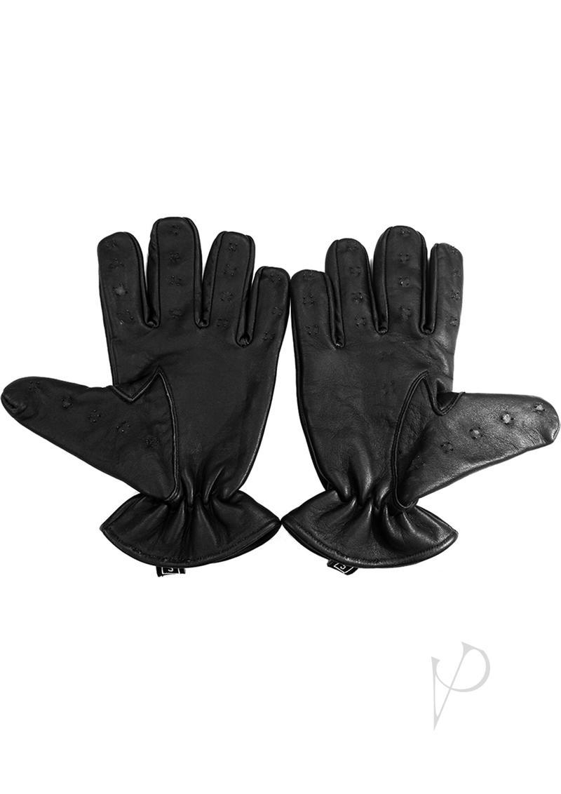 Rouge Leather Vampire Gloves Black Large