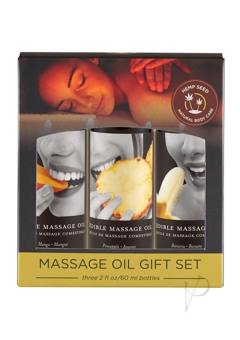Earthly Body Hemp Seed Edible Massage Oil Gift Set (three 2oz Edible Massage Oils)