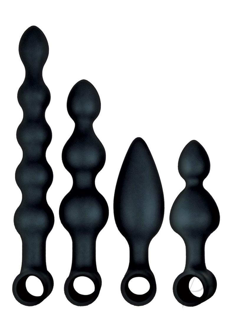 Anal-ese Collection Silicone Rechargeable Vibrating Anal Fantasy Kit (set Of 5) - Black